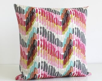 Decorative Pillow Cover, Zigzag Pillow, Throw Pillows, Pillow Sham, Cushion Cover, Throw Pillow, Pillow Cover - Optic Raspberry