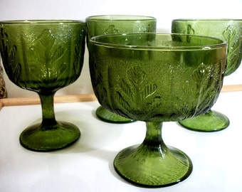 FTD Set of 4 Green Glass Compotes Footed Stemware Vase Style Glasses Collectibles in Vintage 1970's Glassware