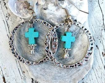 Turquoise Cross Hoop Earrings, Silver Hammered EARRINGS, CrOss EaRRings, Religious Earrings, Western Jewelry