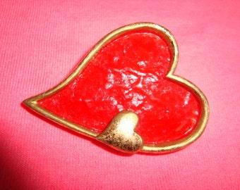 Red HEART Brooch Pendant