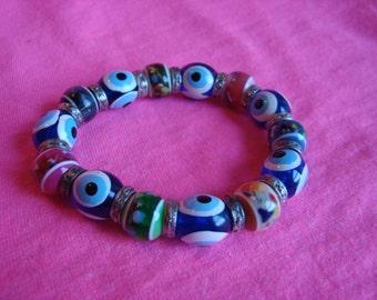 Vintage Stretchy Bold Chunky Multicolor Bracelet