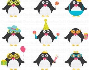 Penguin vector - Clip art and Digital paper set