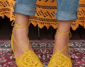 Vegan Crochet Shoes | Mustard