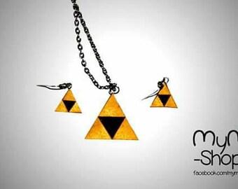 Necklace & earrings Triforce Zelda trifuerza link gamer anime kawaii Nintendo love videogame