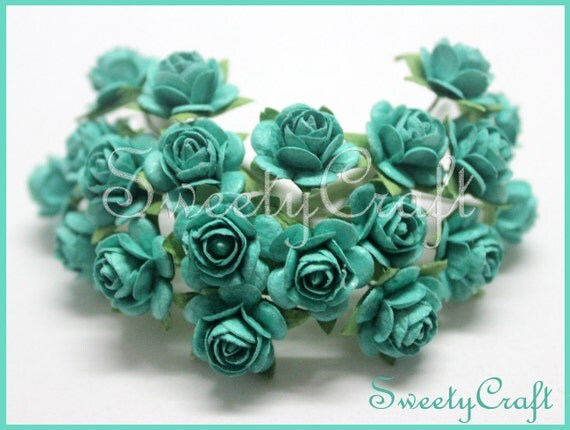 100 emerald green color mulberry paper rose flower by for Green colour rose images