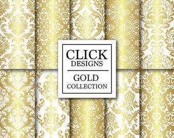 """Gold & White Digital Paper: """"WHITE GOLD DAMASK"""" digital scrapbook papers with gold damask elements, for invites, carts, photography backdrop"""