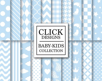 """Baby Boy Digital Paper: """"BABY BOY BASICS"""" digital scrapbook paper pack with soft blue baby boy elements, dots crown plaid for invites, cards"""