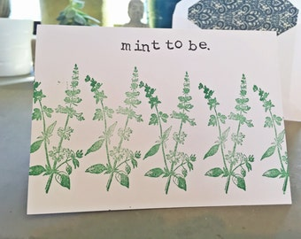 Mint To Be, Love Card, Valentines Day Gift, Blank Greeting Card, Greeting Card, All Occasion Card, Stationary, Valentines Day Card, Cards