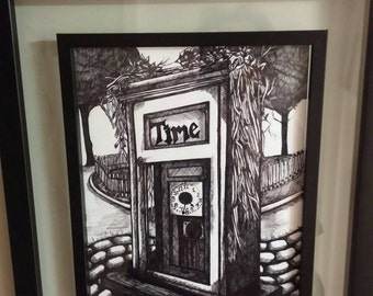 Time Clock Ink Drawing in a Black Frame