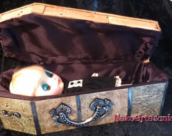 Coffin in 1: 6 scale miniature re-ment kind custom furniture for Blythe and similar