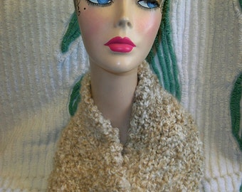 Chunky Knit Scarf Neck Warmer Pearls Lion Brand Homespun Thick and Quick Yarn Handmade