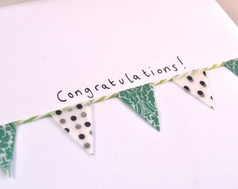 Handmade Congratulations Card - Spotty Green and Black