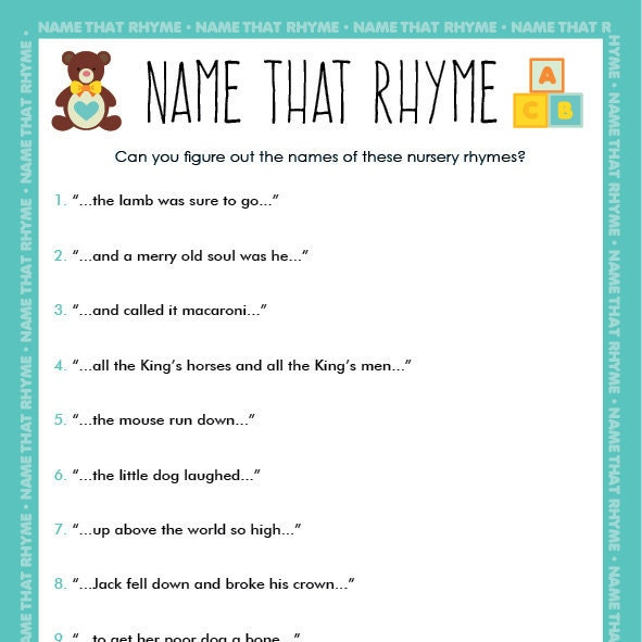 printable baby shower game name that nursery rhyme
