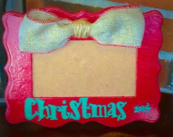 """Rustic """"Christmas 2014 Frame"""" Personalized Christmas Gift, Antiqued with Burlap Bow"""