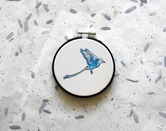 Bird illustration, hoop art