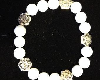 White Alabaster Beaded Stretch Bracelet