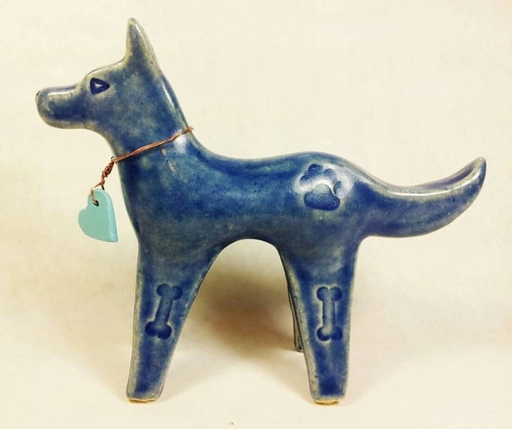 Ceramic dog sculpture clay dog sculpture pottery dogs blue dog