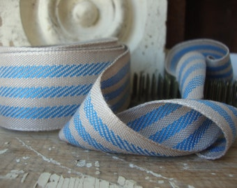 Farmhouse Blue and Tan Stripe Ticking Ribbon