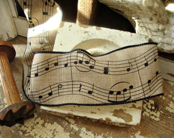 Linen and Black Music Note Ribbon