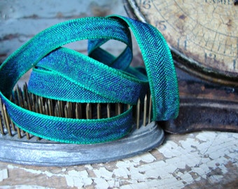 2 Yards - Emerald Green and Blue Iridescent Textured Ribbon