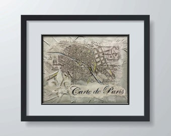 Carte de Paris - Map Series Fine Art Print