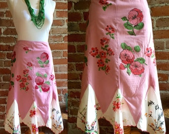 Vintage & Retro Boho Midi Length Scallop Hem Handkerchief Large Print Floral Skirt, Boho Floral