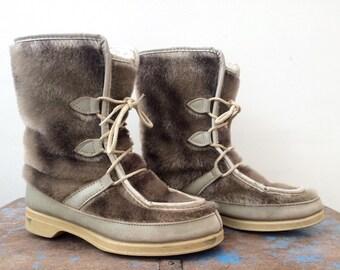 Vintage Yodelers Tan Faux Fur Winter Boots