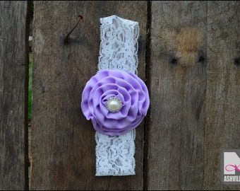 Baby Head Band Lace with Flower ~ Lilac