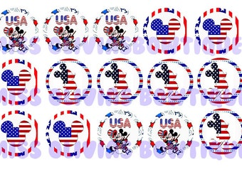 15 Fourth Of July Micky Mouse Bottle Cap Images (Instant Download) Print Your Own