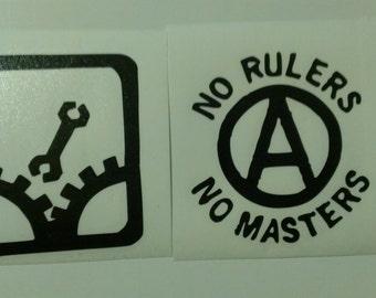 2 Decal set: Monkeywrench Sabotage Anarchy Symbol No Rulers No Masters Vinyl Decals