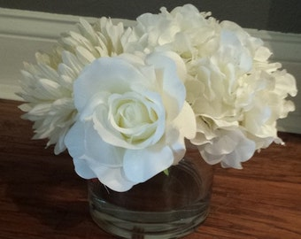 White Arrangement in Round Vase
