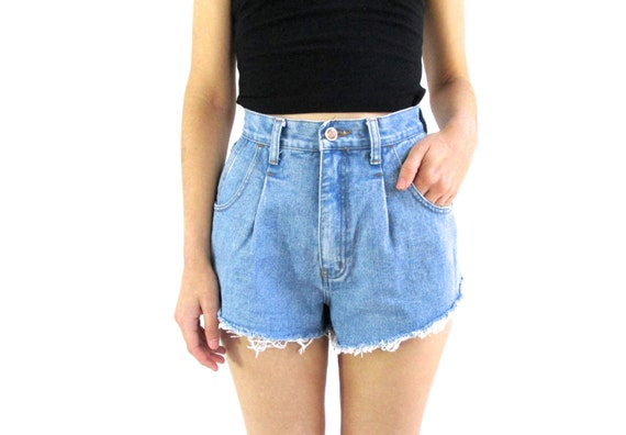 High Waist Denim Shorts 24 Angled Cut Off Shorts 24 Small