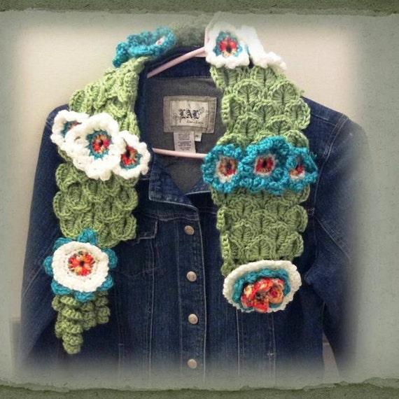 Crocheted Scarf, Flower Scarf