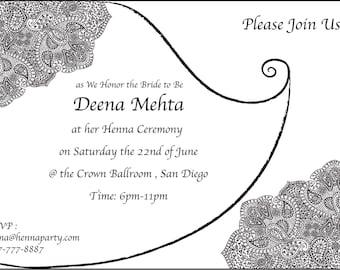 mehndi invitation etsy