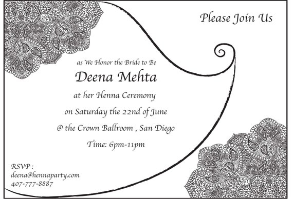 Henna mehendi party invitation card baby shower card like this item stopboris Image collections