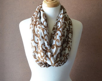 ON SALE - Scroll Infinity Scarf - Brown and Ivory Scarf