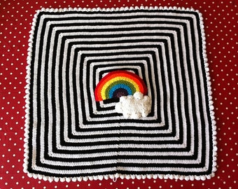 Beautiful baby blanket in black and white with a colourful rainbow and fluffy cloud. Made to order. Perfect for cot, stroller, crib, pram.