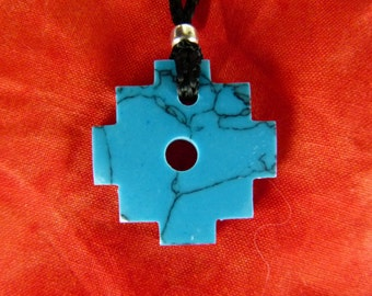 Blue Andean Cross Necklace - Hand Carved Stone Necklace - Chakana Hand crafted Stone - Spiritual Necklace - Stone Jewelry -