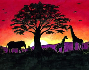 Note Cards-African Sunset