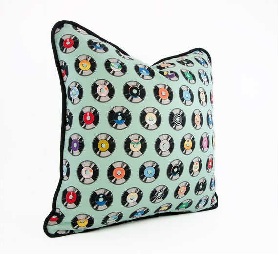 Decorative Pillow Cover Vinyl Record Pillow by HermitCrabStitchery