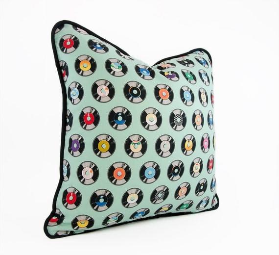 Vinyl Decorative Pillows : Decorative Pillow Cover Vinyl Record Pillow by HermitCrabStitchery