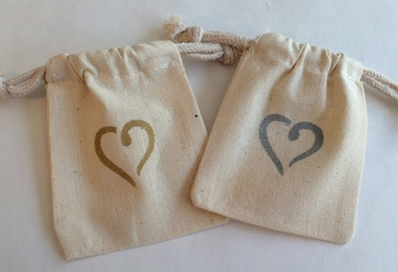 Wedding Favor Bag - Gold, Silver,Red Heart Muslin Wedding Bag ...