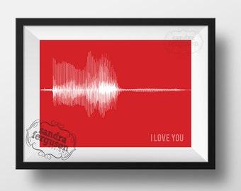 8x10 5 x7 11x 14 4x6 I Love You - Voiceprint - Soundwave Printable art | Birthday | Anniversary | Christmas | valentine's day | DIGITAL FILE