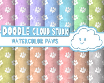Watercolor Paws digital paper, Paw Prints pattern, Digital Paws, pastel watercolor background Instant Download for Personal & Commercial Use