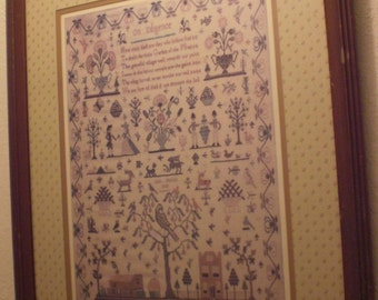 "It's ""On Diligence"" a Folk Art Sampler By Ann Martin Rees, 1808, Super Quality FULL Size Lithograph, Mounted&Framed Franklin Picture Company"