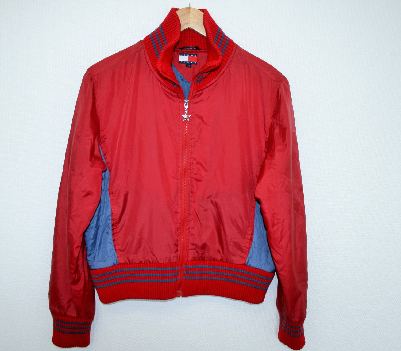 original vintage tommy hilfiger bomber jacket size large red. Black Bedroom Furniture Sets. Home Design Ideas