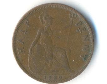 George V Half Penny 1929 Coin (Code: RSC1852)