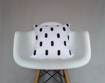 White Linen Pillow Cover Black Dots Block Printed Natural Organic Decorative Throw Double Sided Bedding Accent Pillow Throw Cushion Neutral