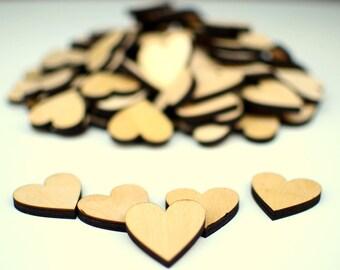Laser Cut MDF Wooden Craft Hearts Bulk Quantity 100  1.5''x1.5''(3.81x3.81cm) Scrapbooking, Crafting Materials, Wedding Guest Book Hearts