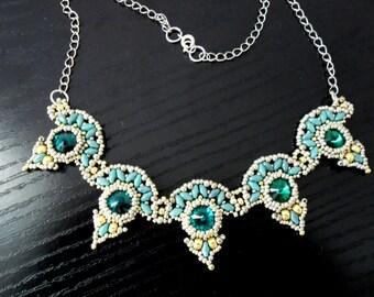 Emerald fan necklace